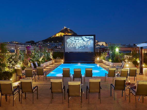 pool your cinema hotel grande bretagne athens roof top